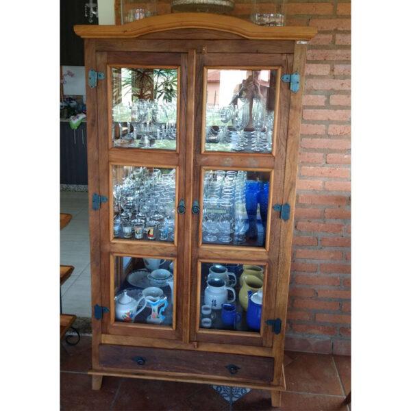 Cristaleira Colonial Em Madeira RÚstico De DemoliÇÃo