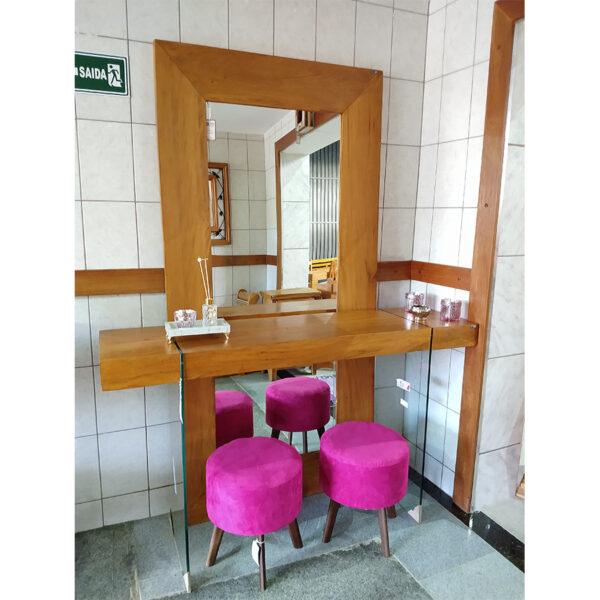 Espelho Em Madeira RÚstico De DemoliÇÃo