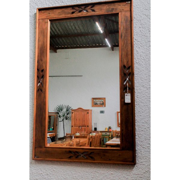Espelho Flores Em Madeira De DemoliÇÃo